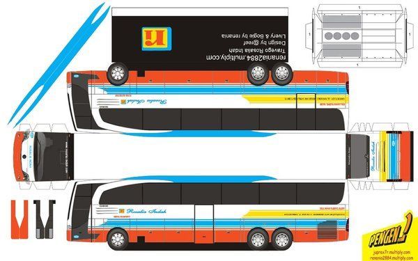 Pola Papercraft Bus Indonesia Paper Crafts Indonesia Image