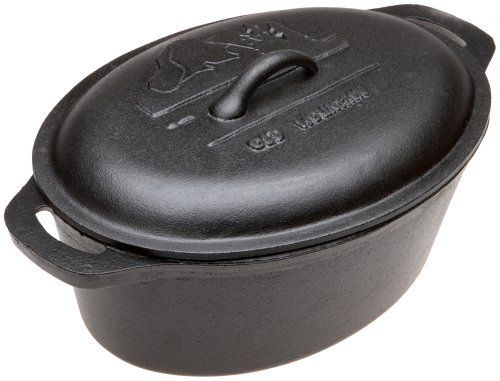 Old Mountain Pre Seasoned 10118 4 Quart Casserole with Dome Lid and Two End Handles by Old Mountain. $49.99. Dome lid for extra capacity. Pre Seasoned and Ready to Use. Old Mountain logo embosed on lid. This Old Mountain cast iron 4 quart oval casserole is pre seasoned and ready to use.  This casserole comes complete with a domed lid for extra volume and two handles for ease of lifting.  Cast iron retains heat better than any other cooking media and is the cooking choice ...