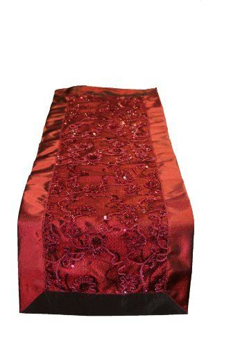 "Crown Embroidered Sequins Table Runner Size: 14"" x 34"", Color: Burgundy by Violet Linen. $10.99. Available in Brown, Gold, Burgundy, white and Beige color options 18"" Round . 12*18 Place mats 14*34 and 14*54 Table Runners. Update your home decor with this attractive embroidered Sequins lace Table Runner .. Machine Washable, Imported .. 100-percent polyester. Crown BU-D Size: 14"" x 34"", Color: Burgundy Features: -Material: 100pct Polyester.-Update your home decor with this attr..."