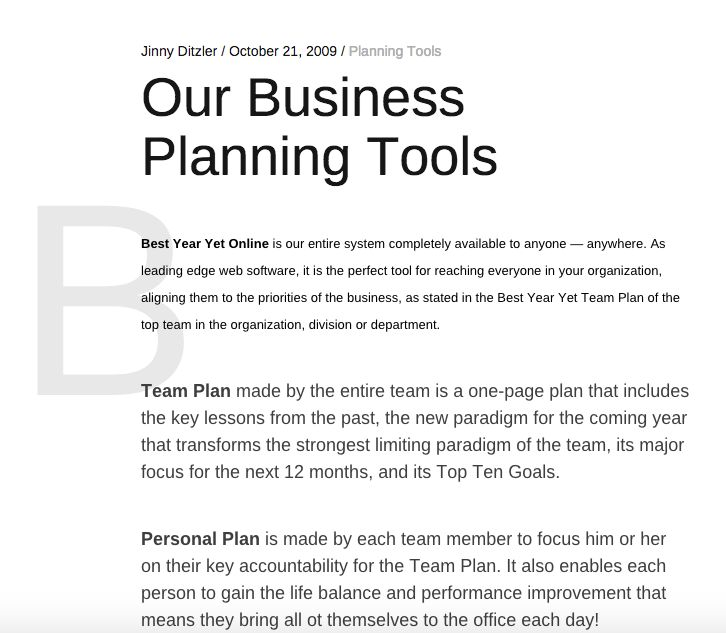 Our Business Planning Tools Strumenti, Pianificazione aziendale - performance improvement plan