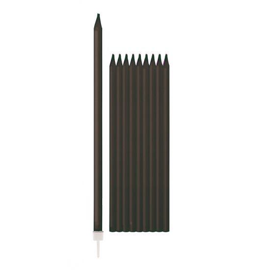 Zwarte taartkaarsjes 10 stuks  Zwarte kaarsen 155 cm 10 stuks. Deze zwarte kaarsen hebben een lengte van ongeveer 155 cm en een diameter van ongeveer 05 cm. De kaarsen zijn verpakt per 10 stuks en worden inclusief houdertjes geleverd zodat ze in een taart gezet kunnen worden.  EUR 1.85  Meer informatie