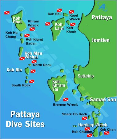 Map of Pattaya diving sites - Thailand maps