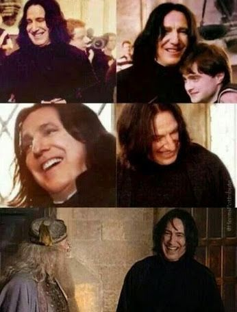 fans are actually surprised about how often Alan Rickman is laughing off screen<<<<< Those are stupid idiots who think that just because he is playing SS, he is not a funny guy -.-