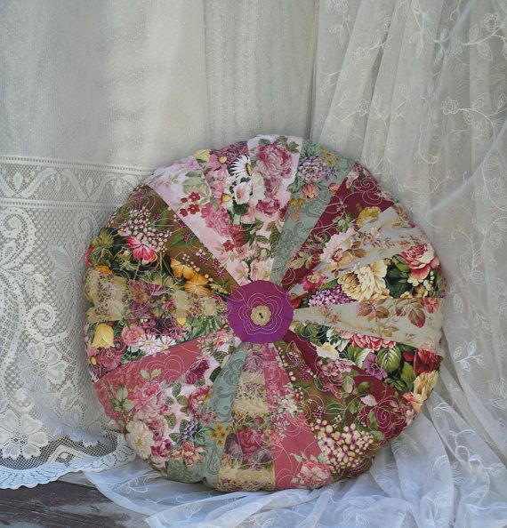 Shabby Chic BoHo Quilted Large Round Floral by paintedquilts, $55.00