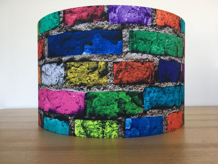 Handmade Fabric Lampshade, multicoloured, modern bricks, retro by CandCHomecrafts on Etsy