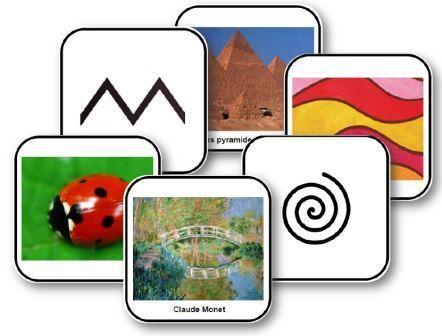 Jeux graphiques : dominos et jeu de mémory des formes graphiques : les images présentent les tracés de formes graphiques, des reproductions d'œuvres...