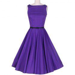 Vintage Scoop Neck Sleeveless Purple Pleated Dress For WomenVintage Dresses   RoseGal.com