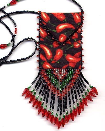 finished beaded chili pepper amulet bag by
