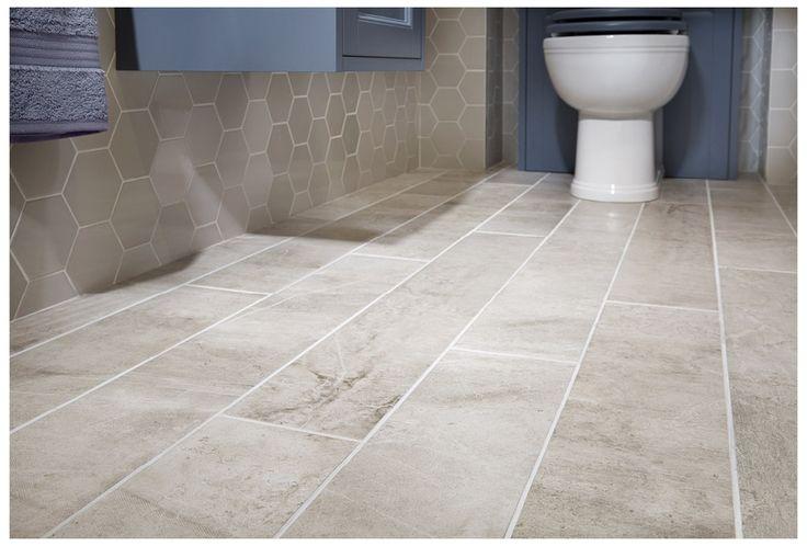 Concrete effect warehouse grey porcelain floor tiles with hero geometric wall tiles #Roseberry #paintedtimber #bathroomfurniture #myutopia