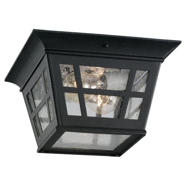 Sea Gull Lighting 78131 Herrington 2 Light Outdoor Flush Mount Ceiling  Fixture Black Outdoor Lighting Ceiling