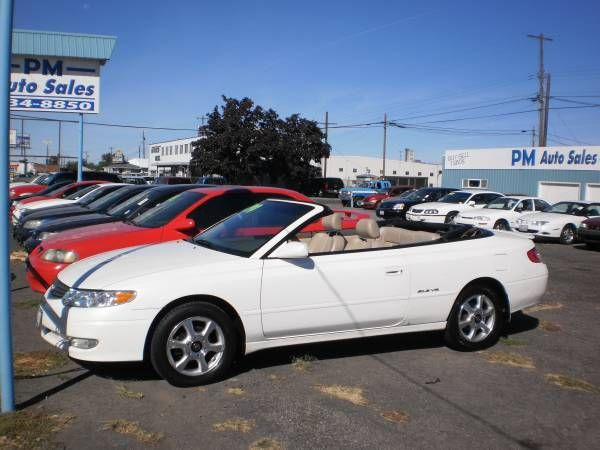 2002 TOYOTA SOLARA CONVERTIBLE DIAMOND PEARL WHITE ALL POWER V6 AUTO THAT RUN'S AND DRIVE'S OUT GREAT ONLY HAS 119K MILES NEWER TIRES LEATHER SEATS POWER TOP CLEAN IN AND OUT CALL 509-534-8850 FOR...