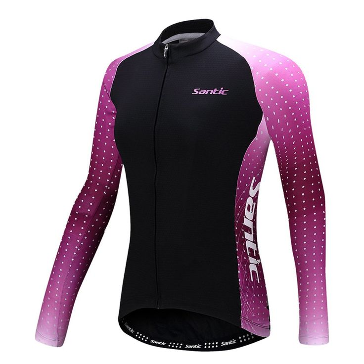 """Santic Women's Cycling Jersey Loog Sleeve Road Bike Jersey Jacket Black-Purple Medium=US Small//Chest 33"""". NOTIC:All the sizes we have are ASIAN SIZE,please CHOOSE THE SIZE BASED ON OUR ASIAN SIZE CHART. HIGH ELASTICITY, BREATHABLE-Our elastic cycling jersey mimics the natural elasticity of your skin, allowing full range of motion when you exercise so that you do not have to worry that it gets torn easily or feel restricted to your actions. THE LATEST ERGONOMICS DESIGN, STYLISH FITTING…"""