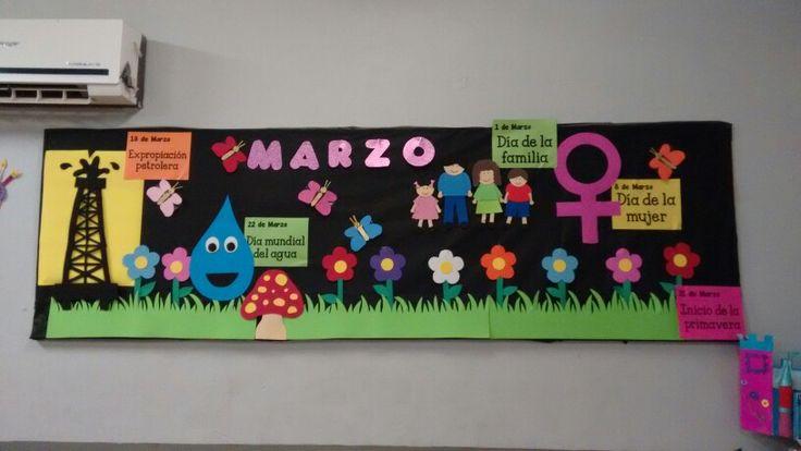 Periodico mural marzo peri dico mural pinterest for Amenidades para periodico mural