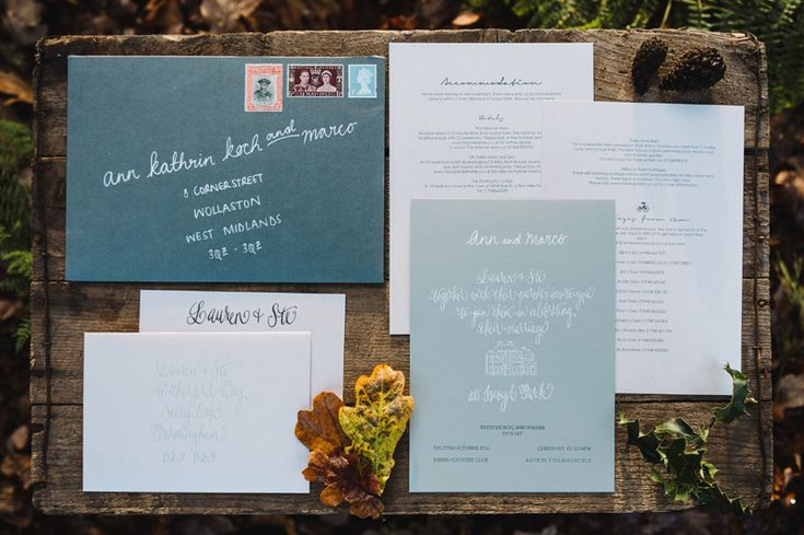 English countryside themed invitation suite by Tom Gautier, photographed by Ann-Kathrin Koch www.annkathrinkoch.com - Film Wedding Photography