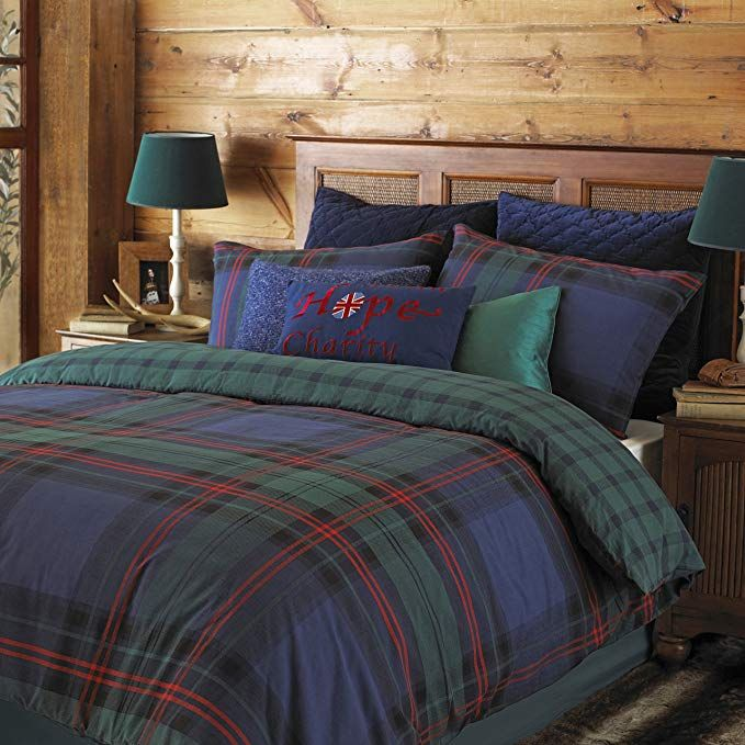 Riva Paoletti Ayrshire Double Bed Duvet Set Tartan Check Design 2 X Housewife Pillowcases Included Duvet Bedding Sets Green Duvet Covers Duvet Cover Sets