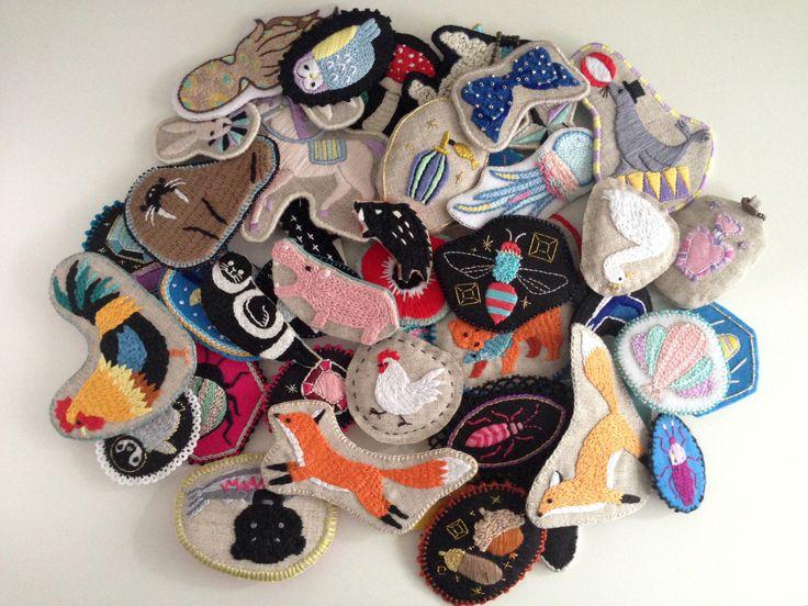 #KuboTomoko #Crafts #刺しゅう #刺繍 #embroidery #handmade #ハンドメイド #illustration #イラストレーション #brooch #ブローチ #animal
