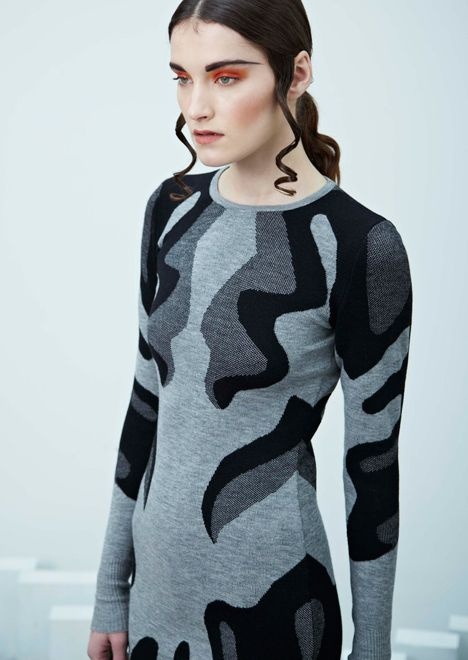 """TEXTILE VISIONS – DIGITAL KNIT.Brooke Roberts, turns brain scans into knitwear patterns by using a knitting machine. Made from merino wool and """"sports…"""