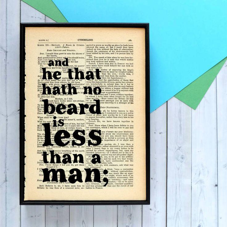 Beard Lover's Shakespeare Quote Print