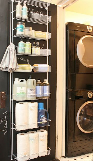 Love this idea for over the door storage!!!! small laundry room door