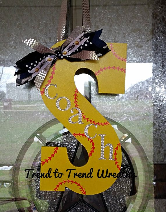 Coach's Gift Wooden Softball Letter by TrendtoTrendWreaths on Etsy #craftout0325