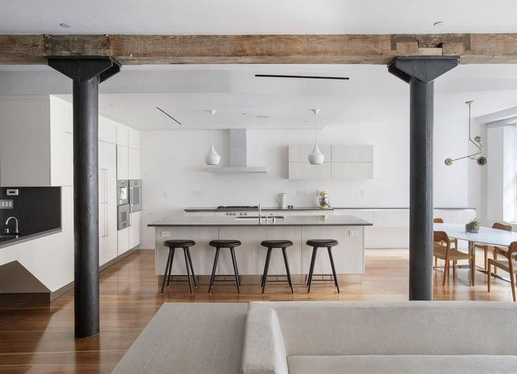 Beautiful Clean, Minimalist White Kitchen In A Tribeca Loft, NYC : RoomPorn