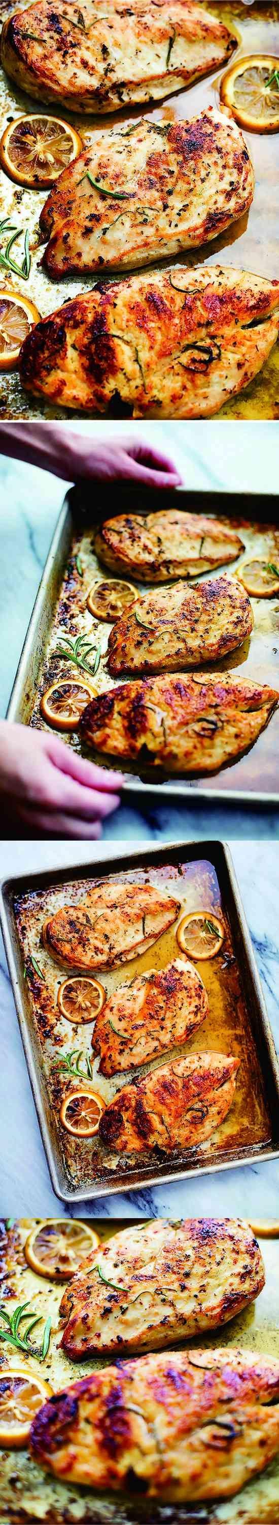 EASY HEALTHY BAKED LEMON CHICKEN - chicken, healthy, honey, lemon, recipes