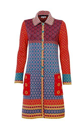 IVKO Long Merino Wool Sweater Jacket Geometric Pattern Front Button Closure Multi-color US 6 - EUR 36
