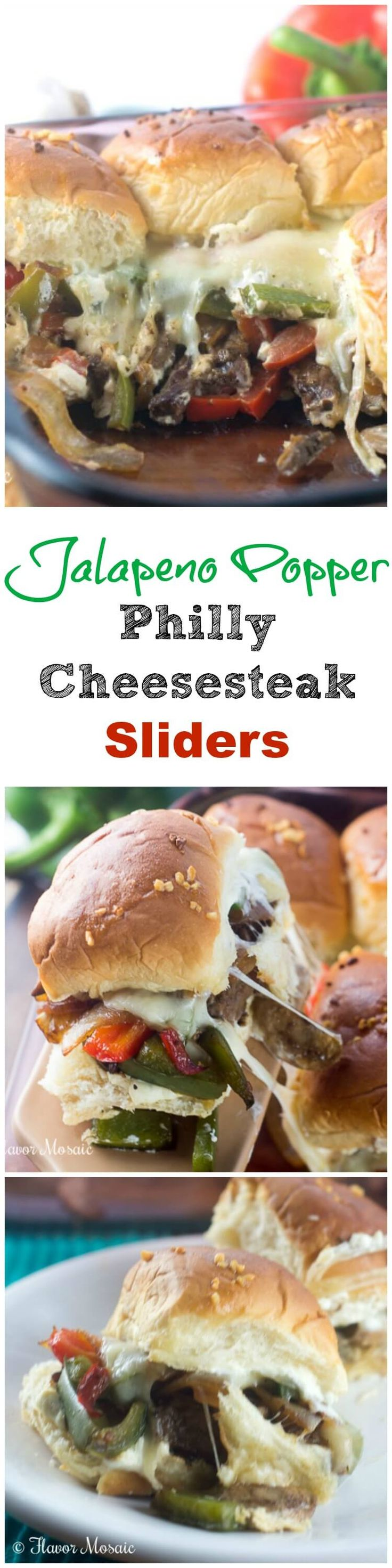 Jalapeno Popper Philly Cheesesteak Sliders combine your favorite game day appetizers into one delicious cheesy, savory and spicy mini sandwich slider that is perfect for any party. ~ http://FlavorMosaic.com