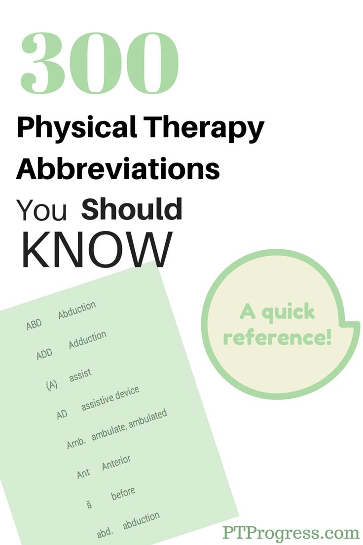 Bright idea 4 physical therapy - Physical Therapy Abbreviations Are Used In The Clinic To Shorten Commonly Used Documentation Terms Here S