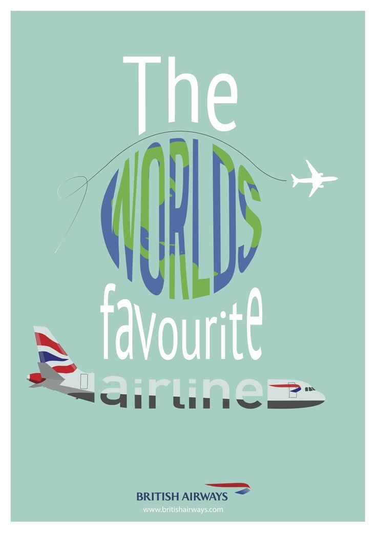 'The Worlds Favourite Airline' British Airways Typography poster by Ben White, Esher College 2017