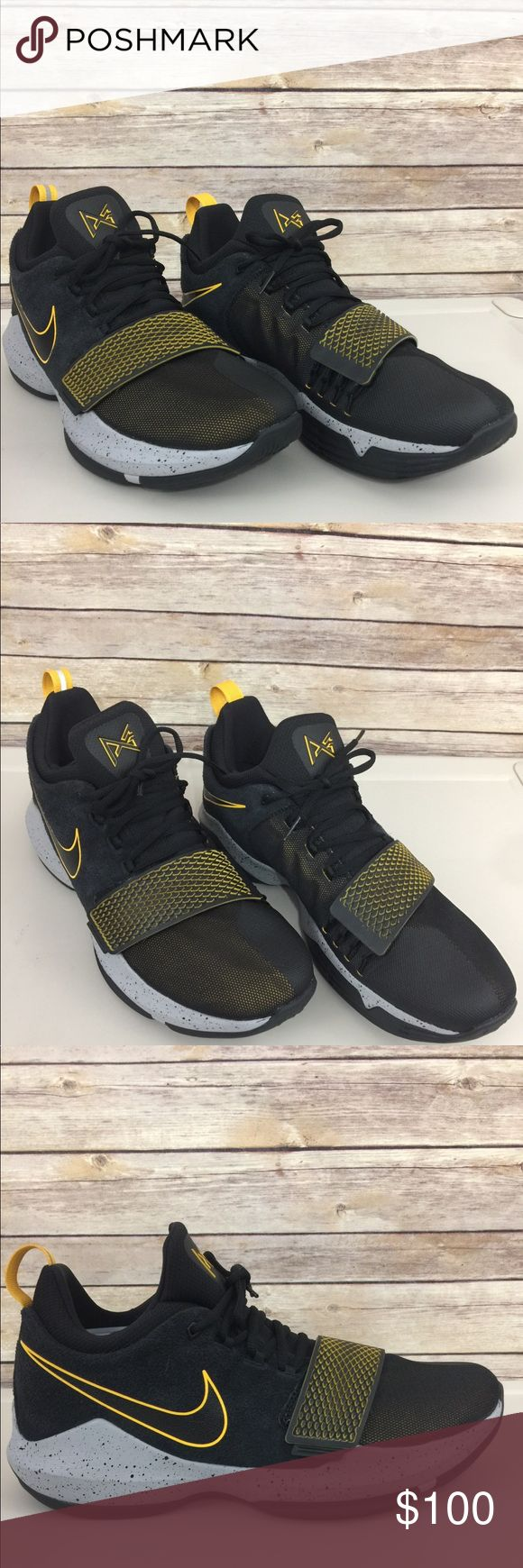 Nike PG 1 Paul George Black University Gold Gray Nike PG 1 Paul George Black University Gold Grey Men Size 13 EUC   Excellent Used Condition Worn only twice Shoe size run one size smaller than actual size. No Box Nike Paul George Shoes Sneakers