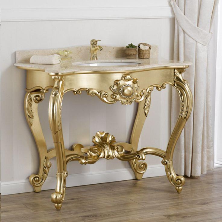 Consolle lavabo stile Luigi Filippo Francese foglia oro marmo crema
