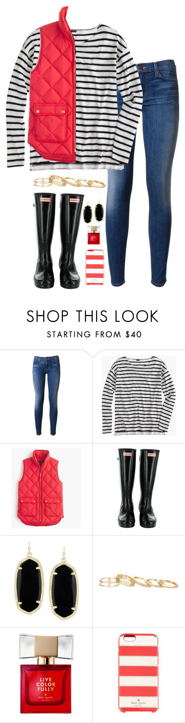 """""""lit"""" by tabooty ❤ liked on Polyvore featuring Hudson, J.Crew, Kendra Scott and Kate Spade"""