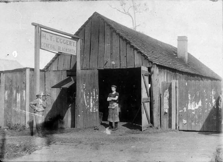 H.T. Eggert Blacksmith on High St,Wauchope,circa 1905.