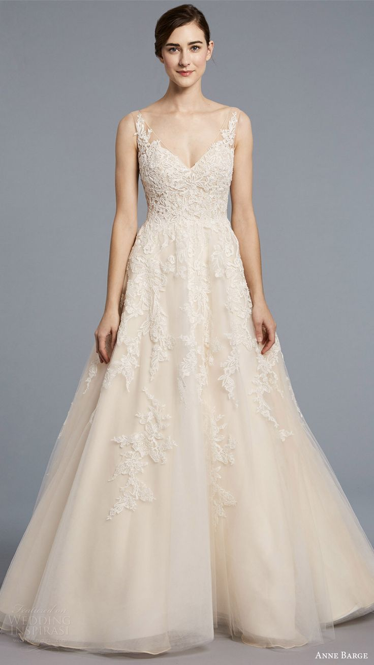 anne barge spring 2018 bridal sleeveless illusion straps v neck sheer beaded lace bodice a line wedding dress (camelot) mv -- Anne Barge Spring 2018 Wedding Dresses