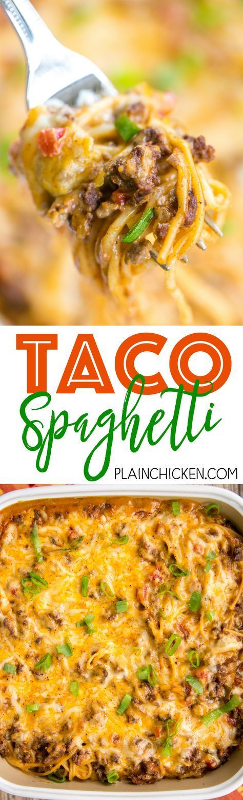 Taco Spaghetti - THE BEST! We ate this three days in a row! Ready in 30 minutes!! Taco meat, velveeta, diced tomatoes with green chilies, spaghetti, cream of chicken soup and cheddar cheese. CRAZY good! Everyone cleaned their plates - even our picky eaters! Our favorite Mexican casserole!