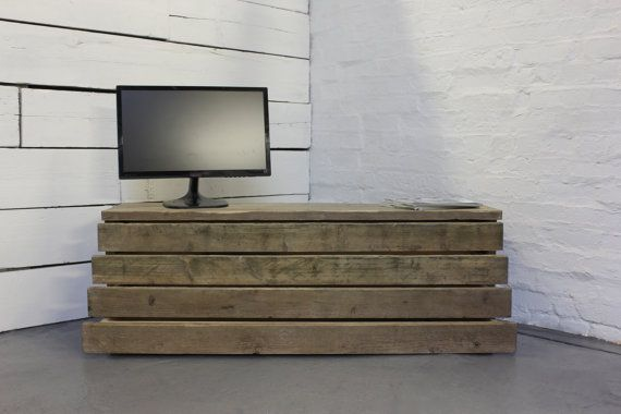 Reclaimed Scaffolding Board Long Low Media Unit or Coffee Table with 4 Slimline Drawers - Bespoke Urban Furniture by www.inspiritdeco.com