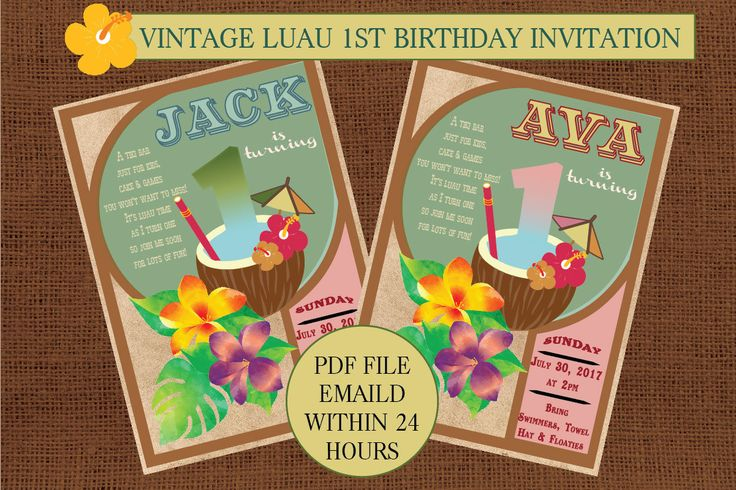 Luau Invitations, Luau First Birthday, Hawaiian Luau Invitation, Hawaiian Invitation, Invitations Online, First Birthday Luau Invitation by PaperColada on Etsy