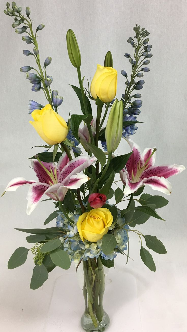 424 best fresh flowers images on pinterest air fern baby blue blue delphinium yellow standard roses stargazer lily blue hydrangea pink tulip and reviewsmspy
