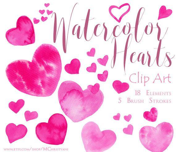 Watercolor Heart Clip Art & Watercolor Brush Stroke by MChristyani