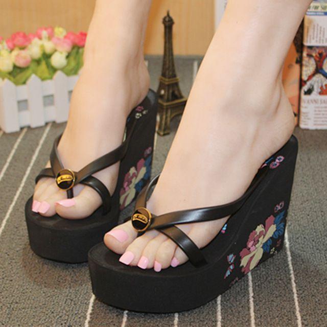 2016 flor espessamento chinelos de verão das mulheres sapatos-salto alto sapatos de cunhas pitada chinelos