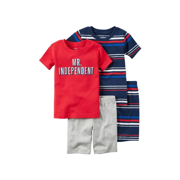 "Baby Boy Carter's ""Mr. Independent"" Tee & Striped Shorts Pajama Set, Size: 12 Months, Ovrfl Oth"
