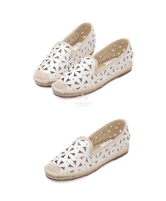 Ivory Wedding espadrilles Round toe PU Rubber sole Wedding shoes