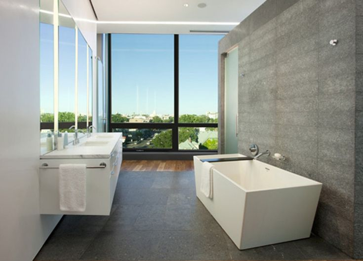 Bathroom, Contemporary Small Bathroom Design White And Grey Bathroom Design Square White Free Standing Bathtub Grey Bathroom Backsplash Double White Bathroom Vanity Open Plan Bathroom Ideas: How to Set Up Contemporary Bathrooms