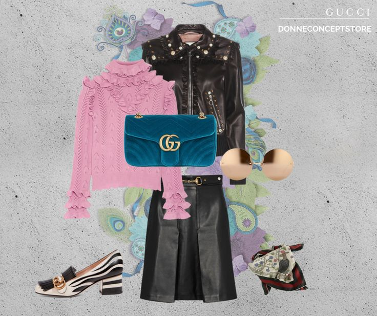#gucci feat #popart  #ggmarmont #velvetmarmont #velvetbag #guccibag #marmont #leatherjacket #leatherskirt #blackandwhite #floraprint
