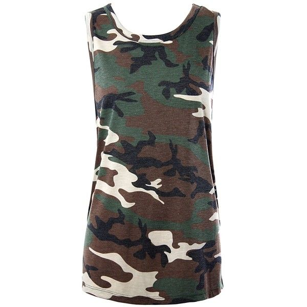 Sans Souci Camo muscle tank top ($19) ❤ liked on Polyvore featuring tops, army green, sleeveless pullover, camo pullover, camouflage tank tops, camoflauge tank top and sweater pullover