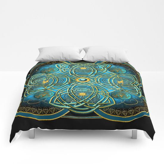 """""""Celtic Cross Tapestry in Gold and Teal"""" Comforter - $99"""