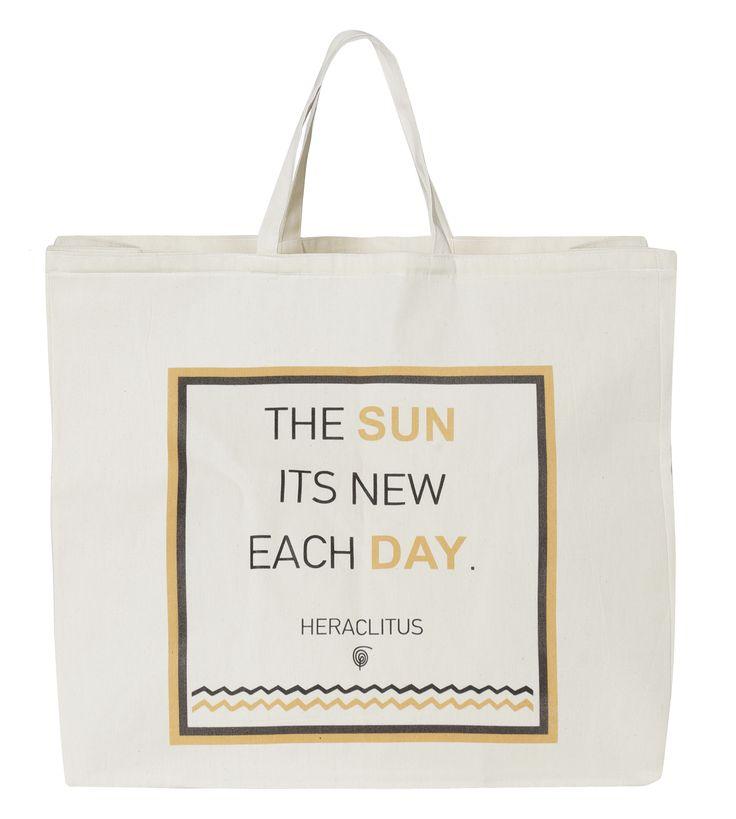 "Beach Bag Sun: ""The sun its new each day - Heraclitus"""