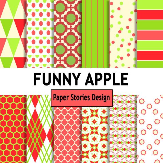 FUNNY APPLE  Commercial Use Digital Scrapbook Printable
