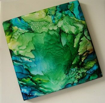 SOLD Hand Painted Alcohol Ink Tile - MYSTERY SEA - Coaster or Wall Hanging - 4x4  SRA Riv Art